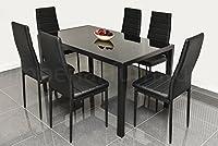 DESIGNER STYLE BLACK GLASS DINING TABLE SET
