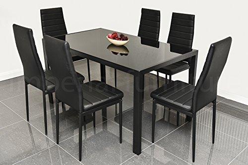 Pearl Furniture Designer Glas-Esstisch-Set mit 6Stühlen aus Kunstleder, Schwarz