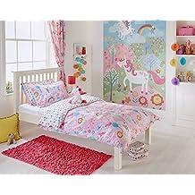 Único para bebé unicornios rosa blanco juego de funda de edredón y cortinas