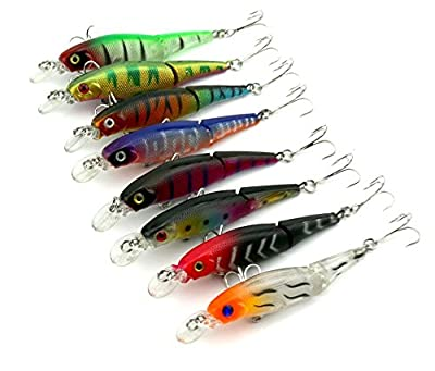 HENGJIA 2sections Multi-Jointed Minnow Fishing Lure for Perch Trout 0.27oz/3.4'' Lot 8 from HENGJIA