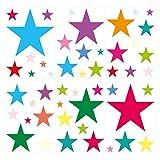 dekodino Wandtattoo Kinderzimmer Wandsticker Set Bunte Sterne zum Kleben Wandtattoo Wand