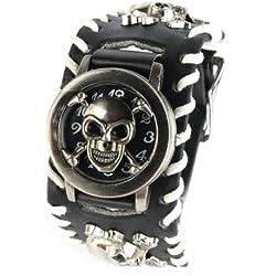 Yesurprise Punk Rock Pirate Skull Skeleton Leather Band Women Men Unisex Bracelet Cool Wrist Watch