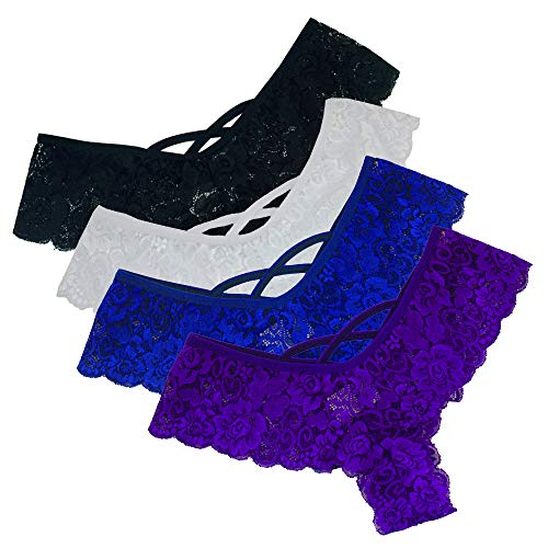 letter54 Höschen Unterwäsche Hipster Höschen Sexy G-String Lace Briefs für Frauen (4 Pack) Schwarz, Blau, Lila, Weiß XXXXL