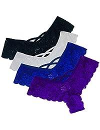 letter54 Höschen Unterwäsche Hipster Höschen Sexy G-String Lace Briefs für Frauen (4 Pack)