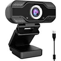Case U 1080P Webcam with Microphone,HD Webcam Desktop or Laptop, Streaming Webcam for Computer Widescreen Video Calling and Recording, USB Web Camera Built-in Mic, Flexible Rotatable Clip and Tripod