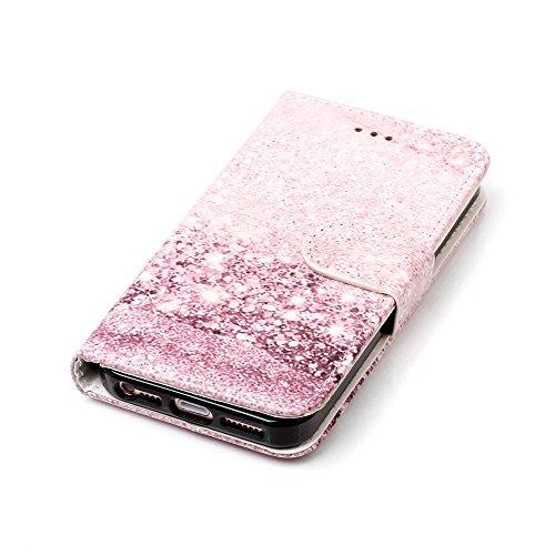 """MOONCASE iPhone 5/iPhone 5s/iPhone SE Hülle, [Colorful Pattern] Stoßfest Ganzkörper Schutzhülle mit Ständer Leder Handytasche Case für iPhone SE 4.0"""" Pink Green Rose Gold"""