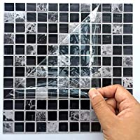 HyFanStr Mosaic Tile Stickers - Tile Transfers for Kitchen Bathroom Tile Decals Black and White 20 x 20cm(Pack of 10)