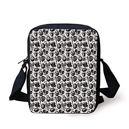 phy Baseball Glove Ping Pong Ball Sketch Style Bat Tournament Inspired,Black White Print Kids Crossbody Messenger Bag Purse ()