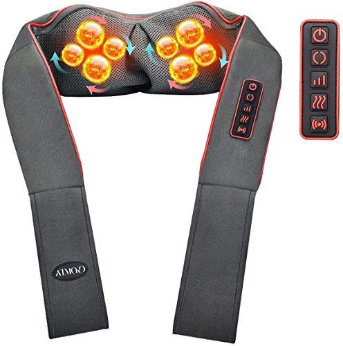Masajeador de Espalda con Modo de Vibración, 8 Rodillos, 4D Rotación con Calor, 3 Intensidades, 5...
