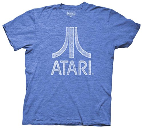 Atari Distressed Logo Adult Blue T-Shirt (Adult X-Large) (Logo Blue T-shirt Distressed)