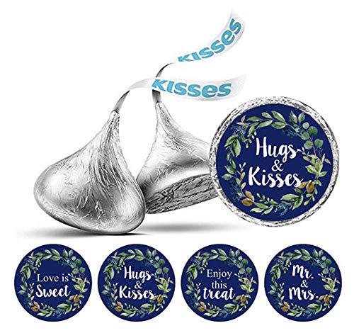 shey Kisses Blatt Kranz Hochzeit Aufkleber Schokoladen-Etiketten DIY 190 PC-Marine-Blau ()