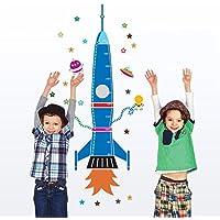 UniqueBella Pegatinas de Pared Vinilo Infantil Decorativo Adhesivo Decoración para Hogar Habitación de Niños Medidor Medir Altura Cohete Azul