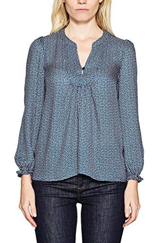 ESPRIT Damen Bluse 117EE1F001, Mehrfarbig (Dark Teal Green 375), 42 (Leichte Print-bluse)