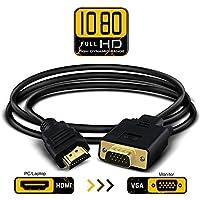 HDMI zu VGA Konverter-Kabel HDMI zu VGA D-SUB 15 Pin M / M Unterstützung Volles 1080P umwandeln Signal von HDMI Eingang Laptop HDTV zu VGA Ausgang Monitoren Projektor, Fernsehapparat 1.8m / 6ft