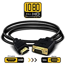 HDMI to VGA Converter Cable Active 1080P HDMI Male to VGA Male D-SUB 15 Pin M/M Video Converter Adapter Support Full 1080P Convert Signal from HDMI Input Laptop HDTV to VGA Output Monitors Projector, TV 1.8m/6ft