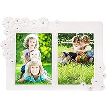BOJIN Bilderrahmen 13 x 18 CM Fotorahmen mit Glas zum Aufstellen Modern Blumen Weiß Rahmen für 2 Bilder 5 x 7 Inch