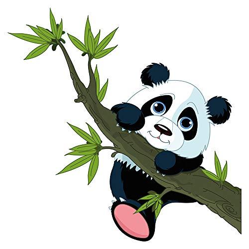 Wandtattoo Babyzimmer Tiere Wandsticker Panda Bär mit Bambus Zweig Wandtattoo T (Bambus-zweige)
