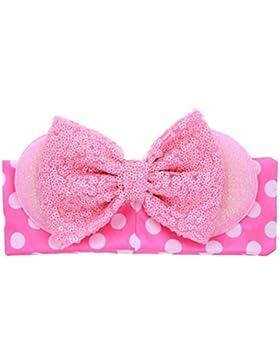 Koly_paillettes delle neonate bowknot coniglio orecchie elastico fascia di stoffa