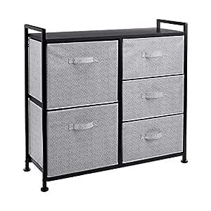 AmazonBasics Fabric 5-Drawer Storage Organizer Unit for Closet, Black