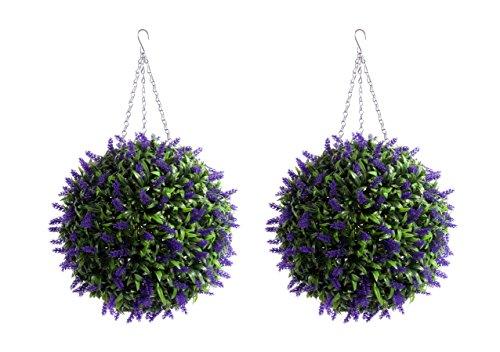 2 Grande 40 cm Meilleur artificielle (TM) Violet lavande Lush longue Feuille topiaire Herbe boules de fleurs * * UV protégé * *