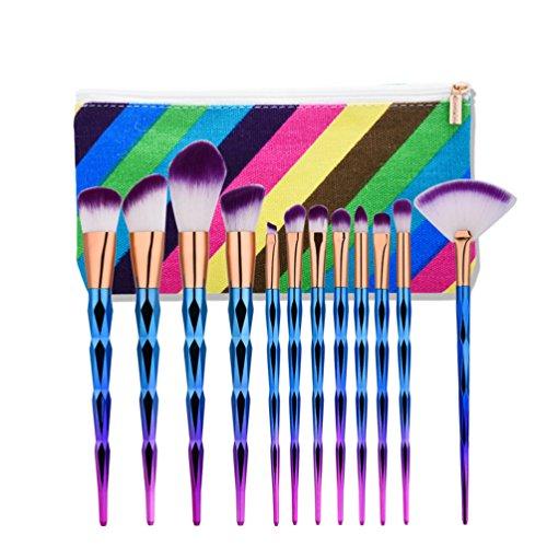 Fashion Base® 8 pcs Lot de pinceaux de maquillage professionnel Tools-natural Cheveux synthétiques Kabuki Brush-cosmetics Brush-face Poudre Contour Surligneur Fond de teint liquide Correcteur Fard à paupières Brosse à sourcils avec coloré Housse de transport