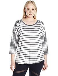 Calvin Klein Women's Plus Sizestripe Mix Drop Shoulder 3/4 Sleeve Tee Size