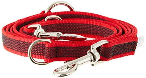JULIUS-K9, 216GM-R-DP, Color & Gray gumierte Doppel-Leine verstellbar, rot-grau, 20 mm x 2,2 m, max für 50 kg Hunde