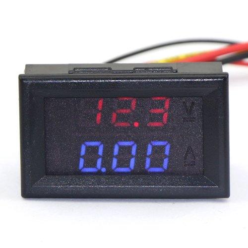 DROK® 0.28 '' DC 0-100V 10A Digital-Voltmeter-Amperemeter-Spannungs-Messinstrument-Strom-Monitor-Lehre 5-Wire Rot-blauer heller LED-Anzeigen-Volt-Ampere-Monitor für Solarbatterie-Monitor-Auto-Motor-Plattenmontage (Röhren-monitor)