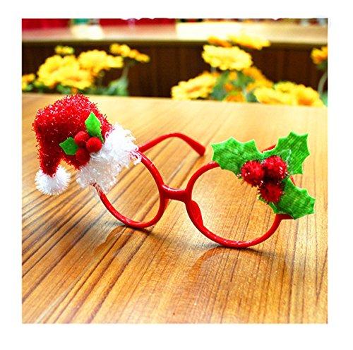 Lalang Weihnachts Party-Gläser Lustige Weihnachts Brillen Rahmen Stützen Weihnachts Schmuck Geschenke für Kinder und Erwachsene (Weihnachtsmann-Hut)