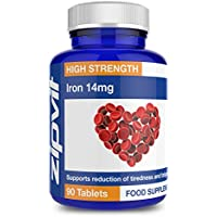 Iron 14mg 90 Tablets by Zipvit   Supports Cognitive Function and the Immune System   Reduces Tiredness & Fatigue