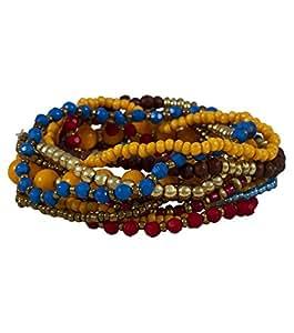 """SIX """"Russet"""" Set aus elf elastischen Perlenarmbändern in Gelb, Rot, Braun, Blau und Metall (333-555)"""