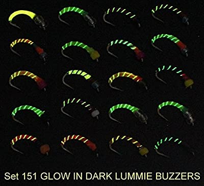 20 X Trout BUZZER fly fishing flies - GLOW-IN-THE-DARK LUMMIES - Size 8, 10,12, 14 or 16 Hook … by arcfishingsupplies
