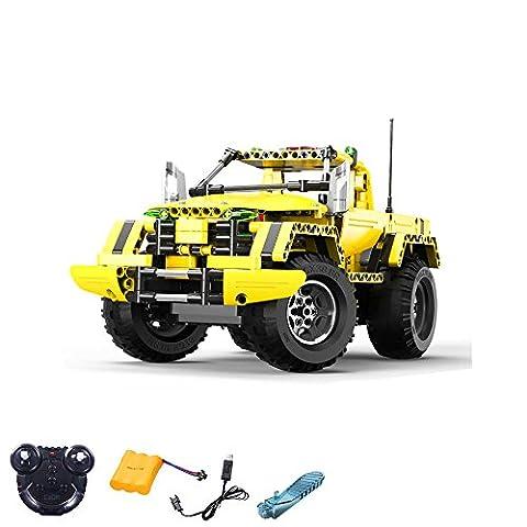 2.4GHz RC Steckbausatz DIY RC ferngesteuerter 2in1 Truck Jeep aus Bausteinen zum Selber Bauen Basteln mit 2.4GHz Fernbedienung, Block Building Brick Fahrzeug, Auto, Car, Komplett-Set Inkl. Akku und USB-Ladekabel