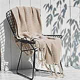 zlloo Decke Office Leisure Blanket_Nordic Sofa Blanket Office Leisure Blanket Single Knitted Tassel, Beige, 180×200cm