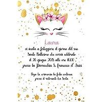 Biglietti Inviti battesimo personalizzati gattino con corona oro - partecipazioni battesimo o compleanno rosa bimba set da 10 biglietti