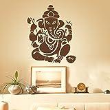"""Mural en vinyle autocollant Sticker mural Mural Home Decor indien Ganesh LE Bouddhisme Inde Namaste Bouddha OM Yoga Succès Dieu Seigneur, Vinyle, marron, 60""""hx72""""w"""