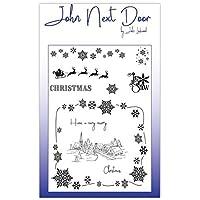 John siguiente puerta Navidad copos de nieve escena Village Clear Juego de sellos jnd0009