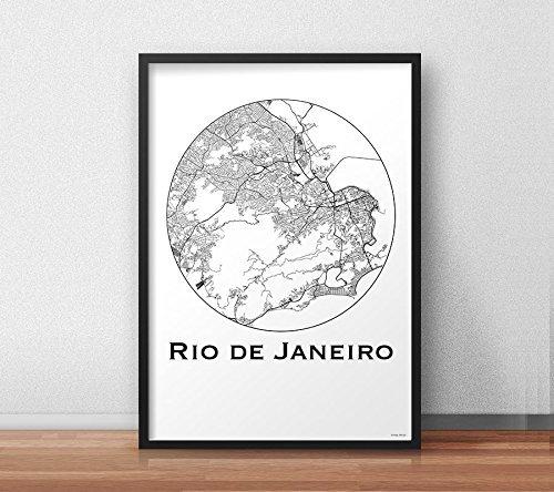 Affiche Rio De Janeiro Brésil Minimalist Map (A4, A3, A2)   City