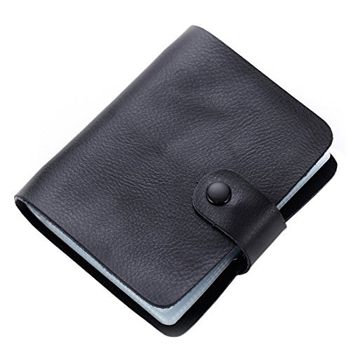 esdrem Kreditkartenetui Leder Business ID Card Case Book Style 60 Zählen Name Card Halter Book schwarz (Leder Business Card Case)
