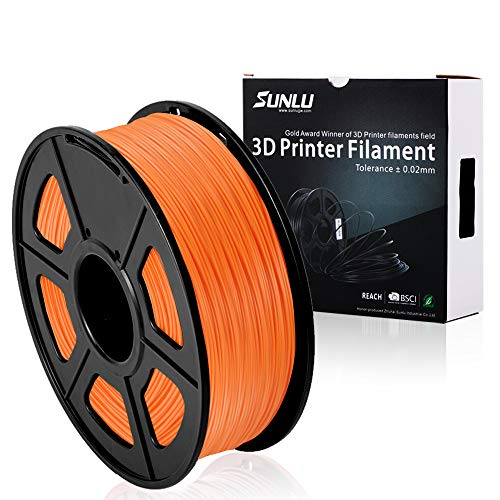 SUNLU 3D Printer Filament PLA Plus, 1.75mm PLA Filament, 3D Printing Filament Low Odor, Dimensional Accuracy +/- 0.02 mm, 2.2 LBS (1KG) Spool 3D Filament, Orange PLA+