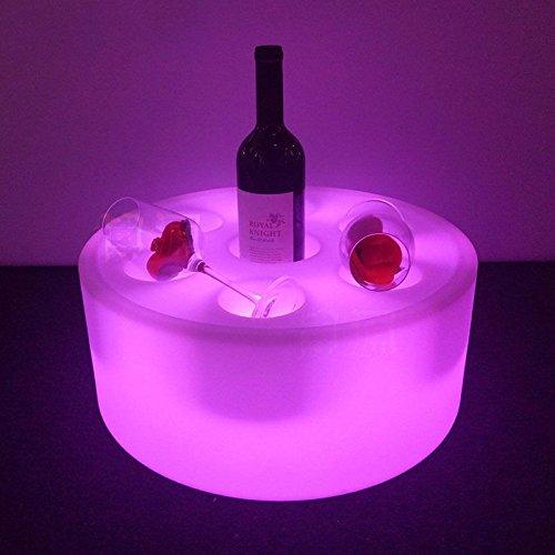 Rond de vin à changement de couleur 42 cm x 16 cm Half Hollow Out Ice Box Cube lumière LED Lampe, supports pour champagne, vin, Bière, Boisson de stockage, RGBW LED Chaise Tabouret meubles avec télécommande, LED rechargeable Table de cube pour jardin, bar, Club, KTV, fête, intérieur et activités de plein air