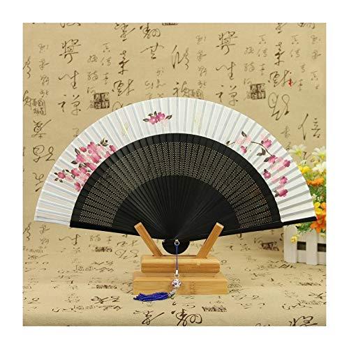 JUNHONGZHANG 2PCS Faltbarer Fächer Seide und Wind Cherry Blossom Fan Japanischer Tanz Faltfächer (21Cm), B