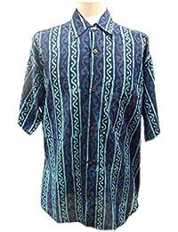 Chemise à manches longues pour hommes - bleu et turquoise ondulé - imprimé à la main avec des blocs de bois sculpté à la main- 100% coton - Commerce équitable