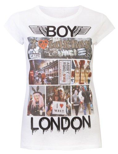 Love Lola Damen T-Shirts Damen Tops London Boy Punk Rock Soho Big Ben Graffiti London Souvenir T-Shirt Gr. 42, Weiß (Punk Graffiti)