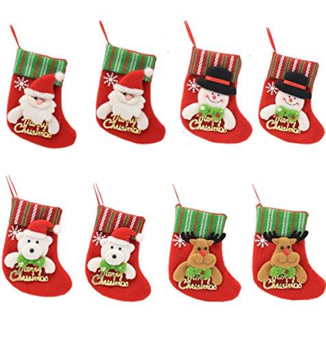 HONGCI 8er Weihnachtsstrümpfe Socken Weihnachtsdeko Weihnachten Bestecktasche Besteckhalter Weihnachtsbaumschmuck Tischdekoration (Set 3)