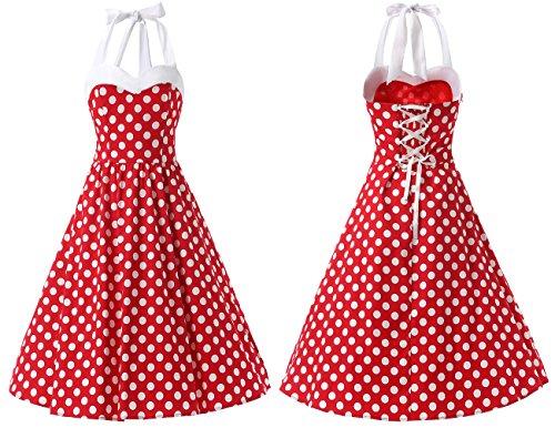 Dresstells Neckholder Rockabilly 50er Vintage Retro Kleid Petticoat Faltenrock Red White Dot