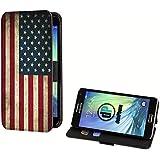 deinPhone Samsung Galaxy A3 (2015) Kunstleder Flip Case Retro Flagge USA