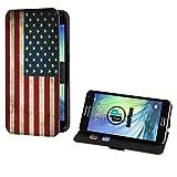 deinPhone Samsung Galaxy S5 Mini Kunstleder Flip Case Retro Flagge USA