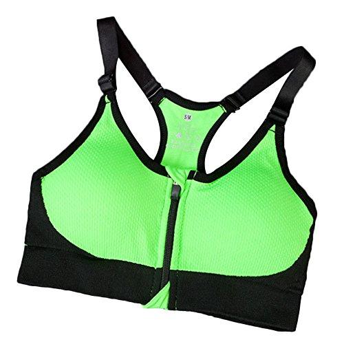 Daojian Femmes Zipper Fitness Yoga Bra Fruit vert