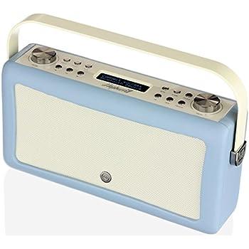 vq retro mini dab dab digital radio with fm bluetooth alarm clock blue tv. Black Bedroom Furniture Sets. Home Design Ideas